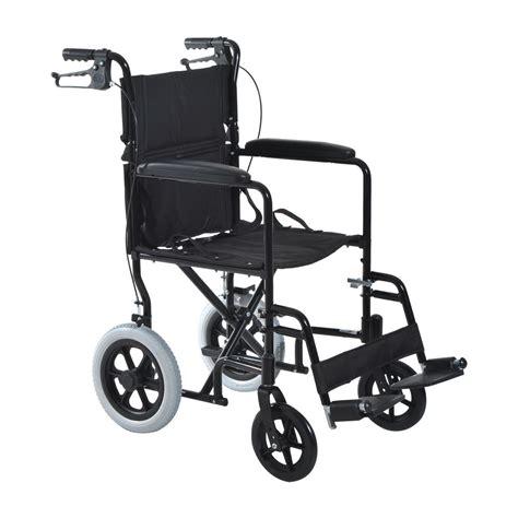 lightweight foldable aluminum wheelchair transport chair