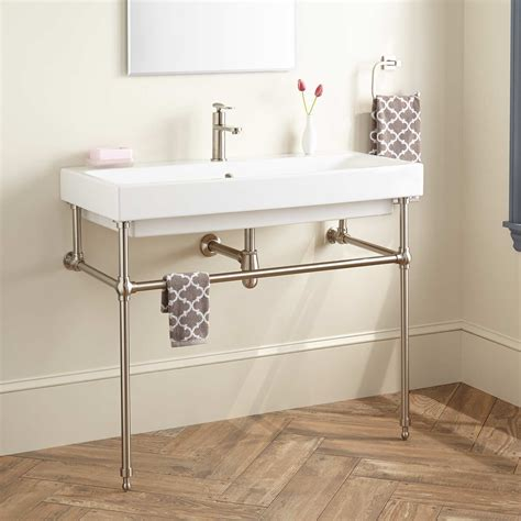 39quot stoddert porcelain console sink with brass stand