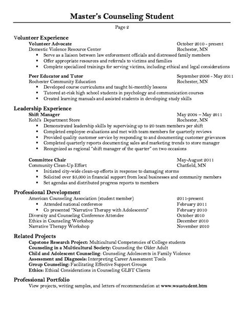 master counseling student resume sample http