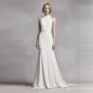 elegant white halter high neck wedding dress cheap ball With high neck halter wedding dress