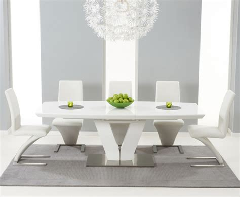 high glass dining table malaga 180cm white high gloss extending dining table with