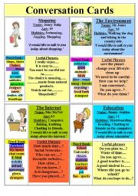 conversation cards esl worksheet  yetigumboots