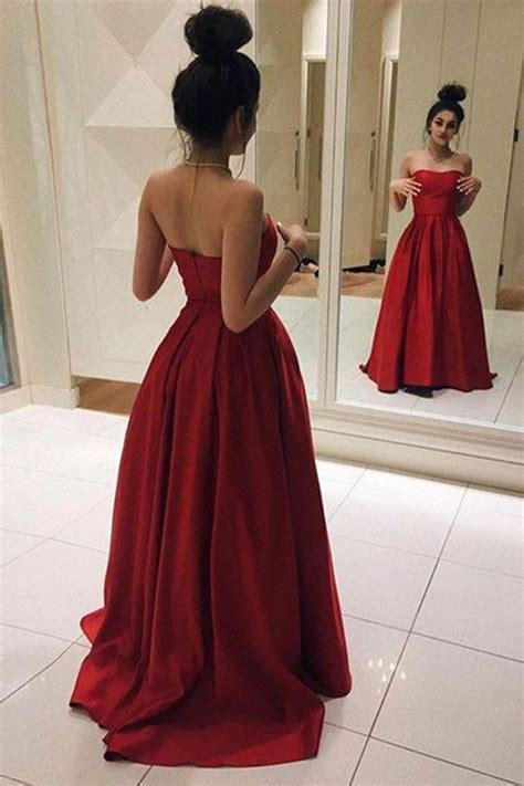 Red Long Prom Dresses, Elegant Red Satin Prom Dress, Ball