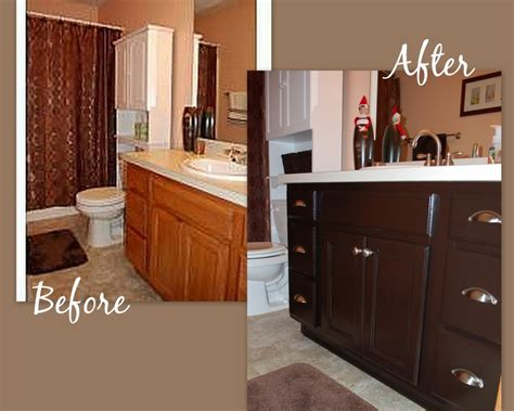 Restaining Oak Cabinets by Before And After Oak Cabinet Restaining Ask Home Design