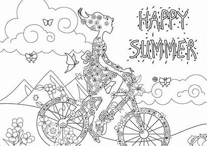 Coloring Summer Stress Anti Landscape Happy Woman