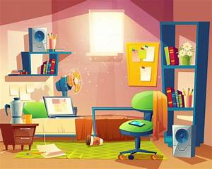 Small room with mess, cartoon bedroom, dormitory with ...