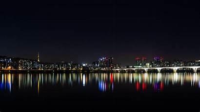 Night Korea Panorama Skyline South Lights Horizon
