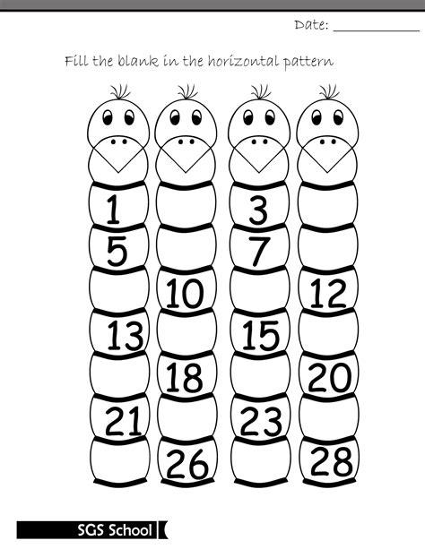 printable missing number worksheet  class kg  shamim