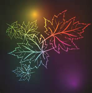 neon design neon lights with maple leaves design vector 03 vector plant free