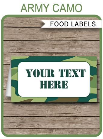 green camo food labels place cards army theme party