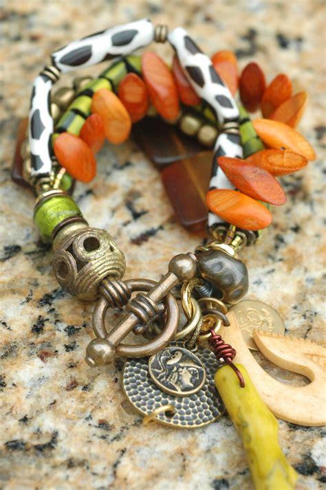 Fiji Bracelet Exotic Amber Green Wood Bone Brass And