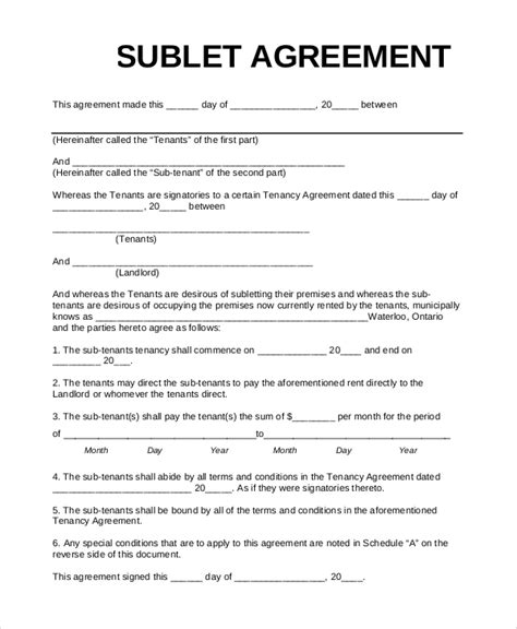 sample sublet agreement templates   ms word
