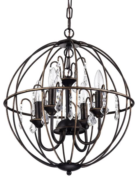 antique bronze cage style globe sphere chandelier