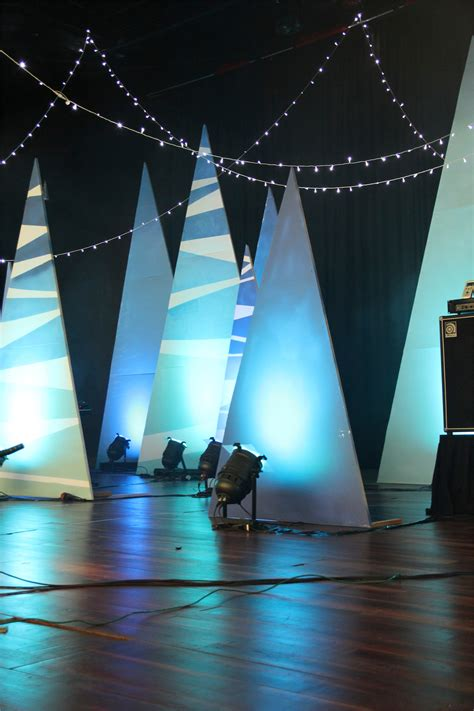 designer christmas lights tiger trees church stage design ideas