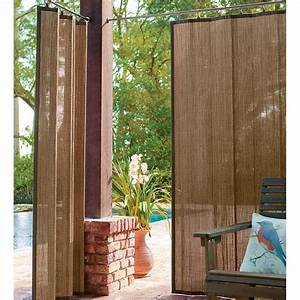 Outdoor Bamboo Curtain Panel  40 U0026quot W X 63 U0026quot L