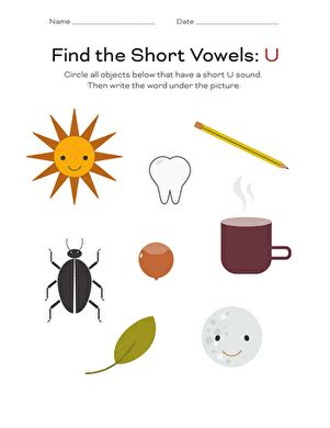 reading readiness short  vowels worksheet