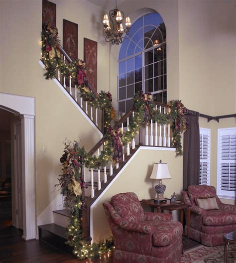 ideas  christmas staircase decorations style