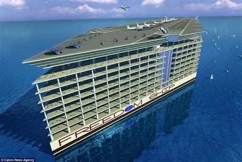 incredible mile long floating city complete  schools  hospital parks   airport