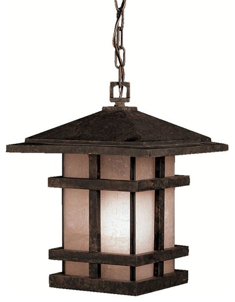 craftsman style hanging outdoor light kichler lighting 9829agz cross creek bronze outdoor