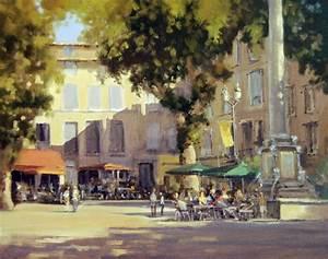 Peinture tableau aix en provence place de la mairie for Peinture aix en provence