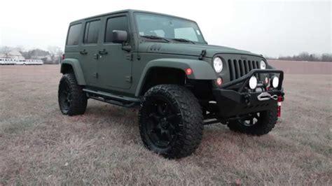 lifted jeep green 2015 custom jeep wrangler rubicon green kevlar lifted