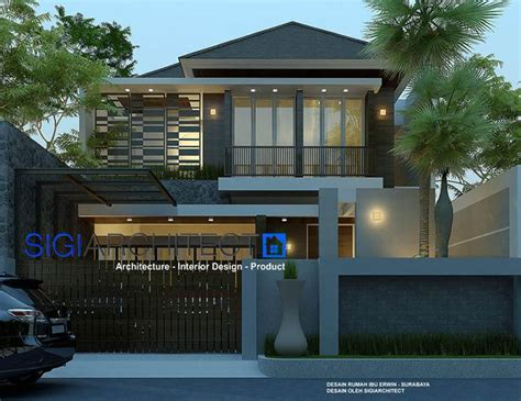 rumah tropis batu alam ekspos desain rumah  lantai
