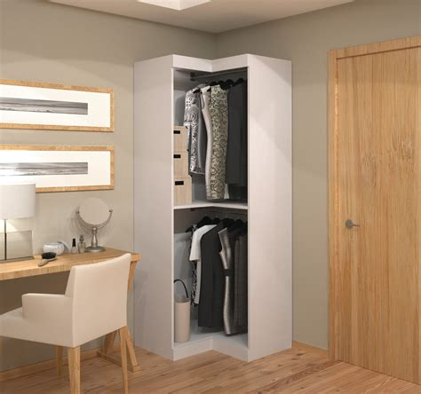 Corner Wardrobe by 26165 White Open Corner Wardrobe From Bestar 26165