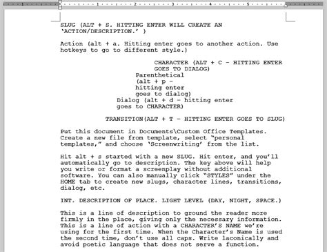 screenwriting templates screenplay template for ms office word
