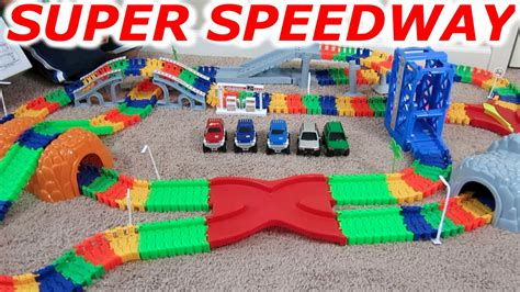 monster truck race track toy super snap speedway 2 car and monster truck racing race