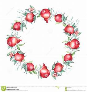 Watercolor Pomegranate (garnet) Wreath. Stock Illustration ...