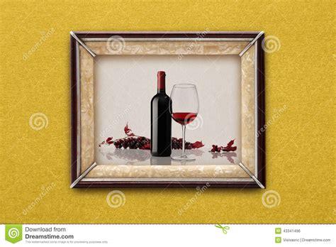 dans le cadre de bouteille et verre de vin dans le cadre de tableau sur le mur photo stock image 43341496
