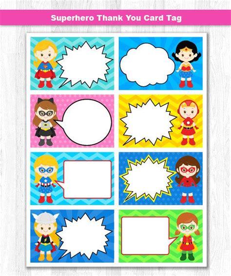 Superhero Girl Thank You Tag Superhero Girl Thank You Card