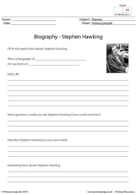 stephen hawking biography worksheet primaryleap co uk biography stephen hawking worksheet