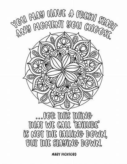 Coloring Adult Pages Mandalas Quote Inspiration Motivation