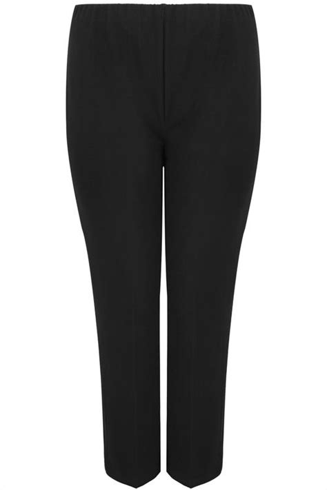 Black Pull On Ribbed Bootcut Trousers - PETITE, Plus Size