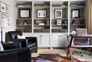Light Gray Office Built in Shelves and Cabinets ...