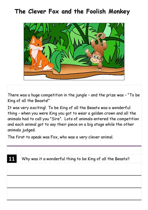 reading comprehension ks1 level 2 year 2 story and