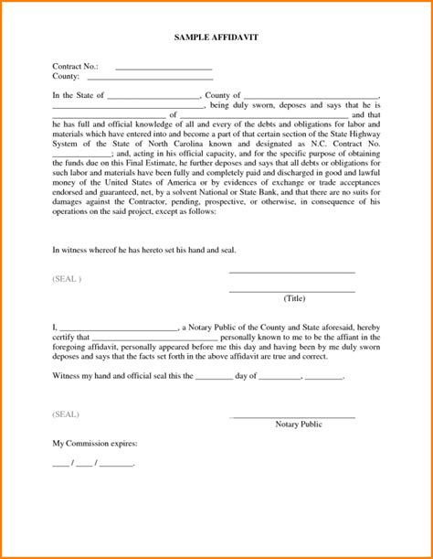 Template Of An Affidavit by 33 Printable Affidavit Form Template Exles Thogati