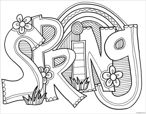 spring word coloring pages nature seasons coloring pages  printable coloring pages