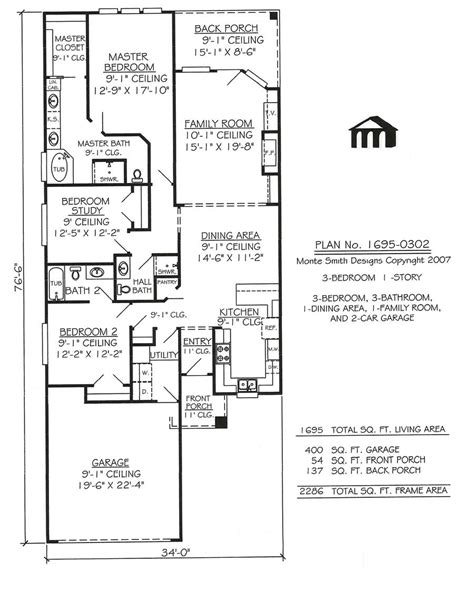 Modern House Plans One Story Plan With Garage Narrow Lot