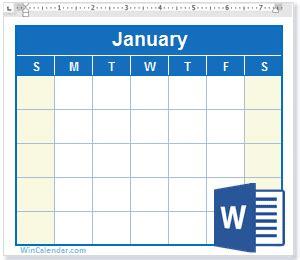 word calendar blank  printable calendar