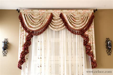 Valances Curtains For Living Room by Valance Curtains With Swags And Tails By Celuce
