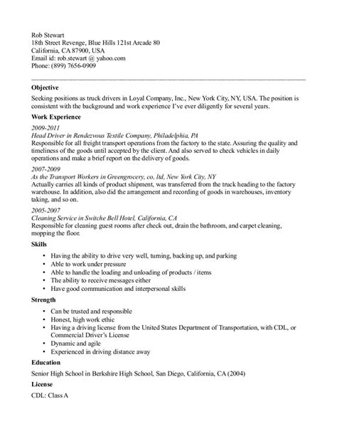Objective For Resume For Driving by Resume Sles Armored Truck Driver Resume