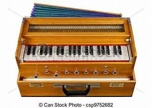 Stock Photo of Indian harmonium, a traditional wooden ...