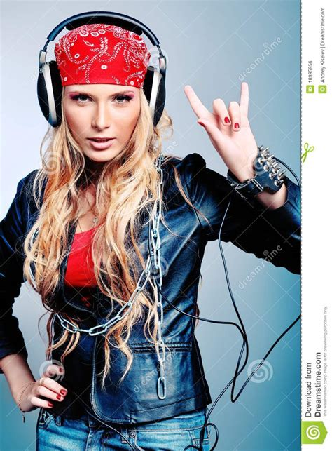 Cool Girl Stock Photo Image Of Lady Grey Music People