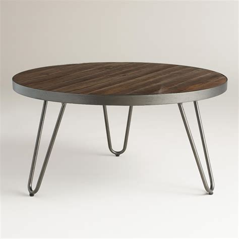 round wood coffee table round wood hairpin coffee table world market