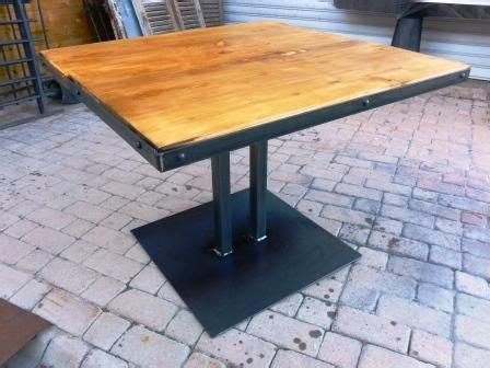 table pied central metal bois style industriel brico diy table table et dining table