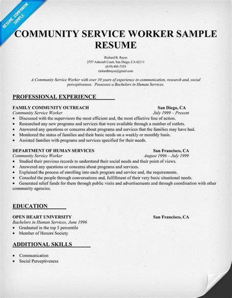 Resume For Community Service Officer by Resume Community Service
