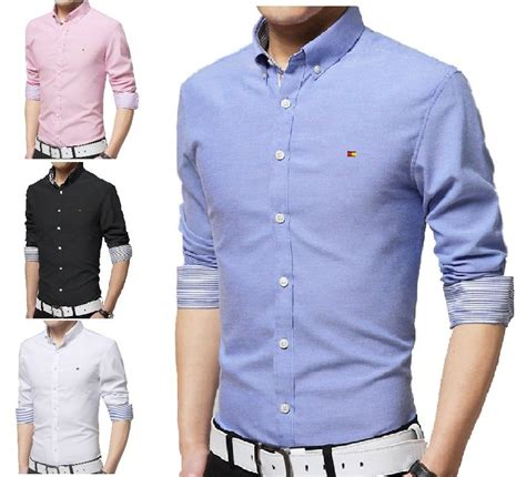 mens casual button  shirts slim fit shirt top long