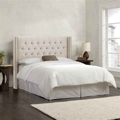 skyline tufted headboard king skyline upholstered tufted wingback king headboard